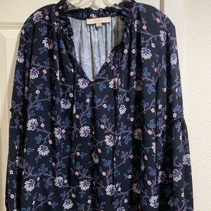 LOFT long sleeve navy floral top
